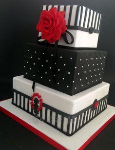Black&White 50th Birthday Cake, red sugar rose