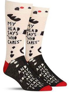 My Head Says Who Cares Socks   Mens