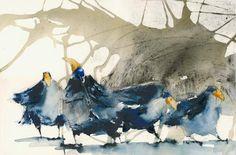 Anna Törnquist, Näbben i vädret, cm Watercolor Animals, Abstract Watercolor, Watercolor And Ink, Watercolor Paintings, Watercolors, Crow Art, First Art, Art Graphique, Watercolor Techniques