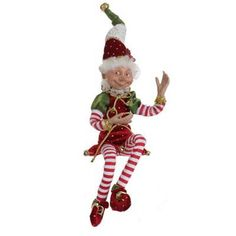 """RAZ Elf Figurine Christmas Ornament  Red and Green Made of Polyester Measures 15"""" For Decorative Use Only Not a Toy! Additional photos for decorating ideas, other items not included."""