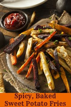 Spicy Baked Sweet Potato Fries. Tasty, crispy, and much better for you than regular fries! | via @SparkPeople #sweetpotatoes #healthy #recipe #nutrition #fries