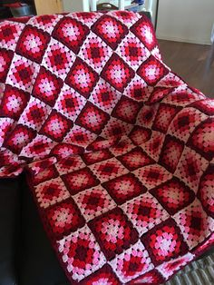 Granny Square Afghan Pink and Red Throw Sofa Blanket