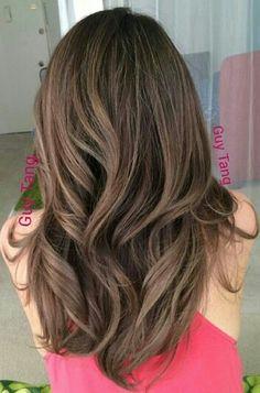 Chocolate ash brown hair balayage