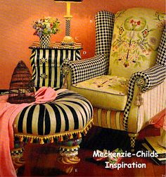 Mckenzie-childs-   crazy about this furniture and accessory line!