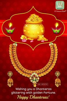 Wishing you a sparkling Dhanteras! May you be blessed with happiness and good fortune. Happy Dhanteras, You Are Blessed, Good Fortune, Indian Jewelry, Wish, Sparkle, Diamond, Gold, Happiness