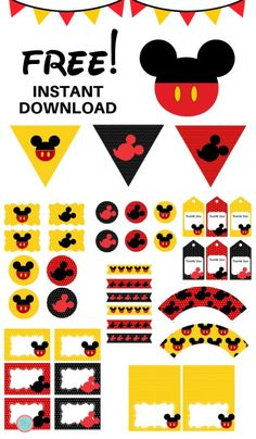 FREE Mickey Mouse Party Printables - Magical PrintableYou can find Mickey party and more on our website. Mickey Mouse Birthday Decorations, Mickey Mouse Theme Party, Mickey Mouse Classroom, Mickey 1st Birthdays, Mickey Mouse First Birthday, Mickey Mouse Invitation, Mickey Mouse Clubhouse Birthday Party, Mickey Mouse Food, Mickey Mouse Banner