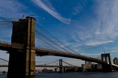Vista da Brooklyn Bridge no East River Park