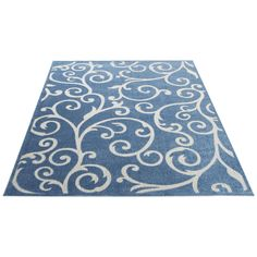 Safavieh Indoor / Outdoor Cottage Scrolling Vines Blue / Cream Rug (8' x 11') (COT927K-8), Size 8' x 11'