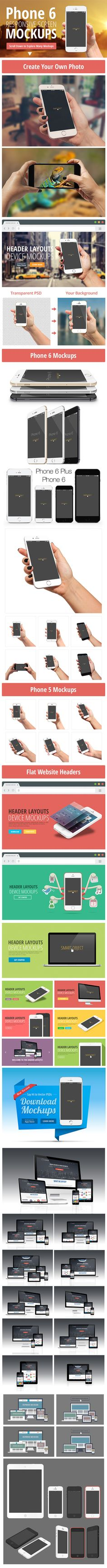 6 poster design photo mockups 57079 - Psd Iphone 6 And Responsive Screen Mockups On Behance