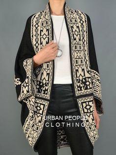 Urban People Black Moorish Boho Oversized Slouchy Wrap/Sweater/Cardigan S/M 506 #UrbanPeopleClothing #Cardigan