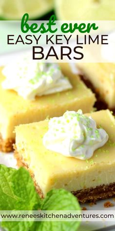 BEST EVER Easy Key Lime Pie Bars by Renee's Kitchen Adventures is an easy recipe for key lime pie bars. This easy dessert pie bar recipe is perfect for potlucks and parties. We love the lime flavor of the filling! SO YUMMY! Key Lime Desserts, Easy No Bake Desserts, Delicious Desserts, Key Lime Dessert Bars, Lime Dessert Recipes Easy, Breakfast Recipes, Key Lime Bars, Easy Key Lime Pie, Key Lime Squares