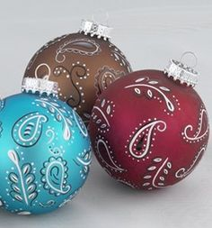 Walmart: Set of 3 Wild West Red, Brown, Blue Paisley Glass Ball Christmas Ornaments Cowboy Christmas, Christmas Ornaments To Make, Noel Christmas, Christmas Balls, Rustic Christmas, Christmas Projects, Handmade Christmas, Holiday Crafts, Western Christmas Decorations