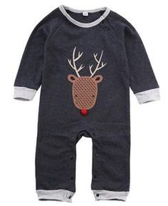 14e8714d6ba Reindeer Long Sleeved Baby Romper ON SALE NOW at canyonmoonkids.com Newborn  Outfits