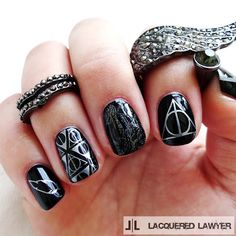 Lacquered Lawyer | Nail Art Blog: Deathly Hallows #HarryPotter