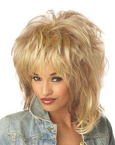 Da Donna Stag Do 80s Rocker Tina Parrucca Capelli Donna Pop Rock Musica Festa Accessori