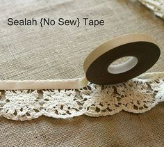 LOOK! It's a No-Sew Table Runner!! Burlap and Lace!! DIY using Sealah no-sew adhesive.