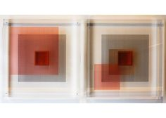 "BLANCA MORALES ""Optic Block"" 2015  10"" x 10"" x 1.6"" (25 x 25 x 4 cm) Silkscreen printing on acrylic, ink, vinyl, wire. Pair.$950"