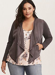 Grey Knit to Woven Drape Front Jacket