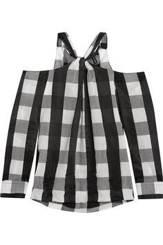 rag & bone - Collingwood Cold-shoulder Gingham Cotton-blend Top - Black - x small