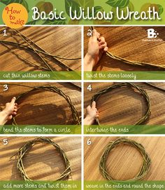 Simple willow wreath Instructions – basic form Basic Willow Wreath Tutorial / Simple instructions for a willow wreath (Diy Wreath) Willow Branches, Willow Tree, Tree Branches, Stick Wreath, Diy Wreath, Wreath Making, Willow Weaving, Basket Weaving, Autumn Wreaths