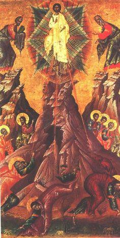 The Transfiguration of c. Onoufrios of Neokastro (Elbasan). Museum of Albanian medieval art, Korce, Albania. Christian Religions, Christian Symbols, Christian Art, Byzantine Icons, Byzantine Art, Religious Icons, Religious Images, The Transfiguration, Black Jesus