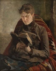 Woman reading a book. Jacek Mierzejewski (Polish, 1883-1925). Mierzejewski was associated with Formism, a Polish art movement that combined Cubism, Impressionism and Futurism. He began his studies at the Warsaw School of Drawing, then enrolled at the Krakow Academy of Fine Arts, where he studied with Florian Cynk, Leon Wyczółkowski and Józef Mehoffer.