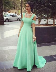 Modest Prom Gowns Elegant Mint Green Prom Dress Satin Evening Dresses For Teen