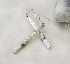 Stick sterling silver hammered earrings  by JudysDesigns #handmade