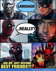 Iron man and Deadpool BFFs