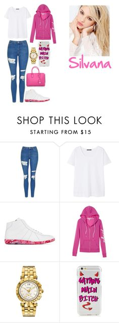 """girl outfit #3"" by juliee-da-baddiee ❤ liked on Polyvore featuring Topshop, Violeta by Mango, Maison Margiela, Victoria's Secret, Versace, MCM and Silvana"