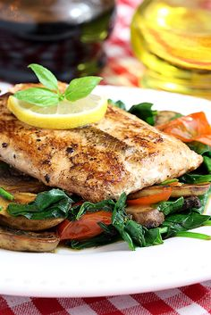 Pan Seared Salmon with Sauteed Mushrooms and Spinach Shared on http://www.facebook.com/LowCarbZen/