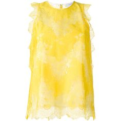 Carven lace blouse ($345) ❤ liked on Polyvore featuring tops, blouses, lacy blouses, carven top, lace blouse, yellow blouse and lace top