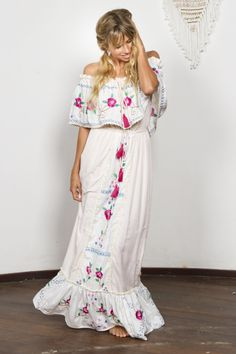 """""""Seeker Lover Keeper Nursing Dress"""" Embroidered Nursing Maxi Dress - Cross Stitch Fillyboo - Boho inspired maternity clothes online, maternity dresses, maternity tops and maternity jeans. Summer Holiday Dresses, White Dress Summer, White Maxi Dresses, Summer Dresses For Women, Maternity Clothes Online, Maternity Dresses, Maternity Jeans, Maternity Tops, Maternity Nursing"""