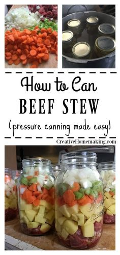 How to Can Homemade Beef Stew Canning beef stew recipe Canning Soup Recipes, Pressure Canning Recipes, Canning Tips, Vegetable Beef Soup Canning Recipe, Pressure Cooking, Canning Kitchen Ideas, Canning Jar Storage, Canning Pressure Cooker, Canning Labels