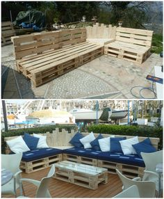 We built this Outdoor Pallet Sectional Set out of 12 pallets, and it took us about 12 hours. This will turn your yard into an outdoor oasis!