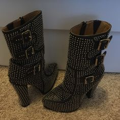 Jeffrey Campbell boots like new! Size 6 studded buckle boots with side zipper only worn a couple times just like new! Jeffrey Campbell Shoes Heeled Boots