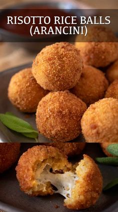 Risotto Rice Balls, also known as Arancini di Riso, are a Sicilian fried snack made with only 4 ingredients. Leftover risotto is rolled into balls, breaded and fried that come with a cheesy center. #risodiarancini #arancini #riceballs #risottoballs Risotto Balls, Risotto Rice, Risotto Dishes, Best Appetizers, Appetizer Recipes, Snack Recipes, Easy Rice Recipes, Leftover Rice Recipes, Best Risotto