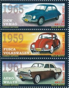 BRAZIL - The Volkswagen Beetle is known as 'Fusca' in the Portuguese speaking part of South-America. In 2001, a sheet with 6 stamps was issued. All six stamps show 'old cars' of course, the Beetle Fusca is present. Other cars on this issue are for example a Renault Gordini, a Simca and a DKW.