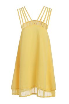 Stylish Yellow Spaghetti Strap Ruffle Women's Dress