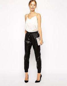 506da7f322f199 Discover Fashion Online Leather Jogger Pants, Leather Pants Outfit, Jogger  Pants Outfit, Soccer