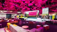 T-Mobile pink umbrella installation and #lounge! Impactful and on point with the color!
