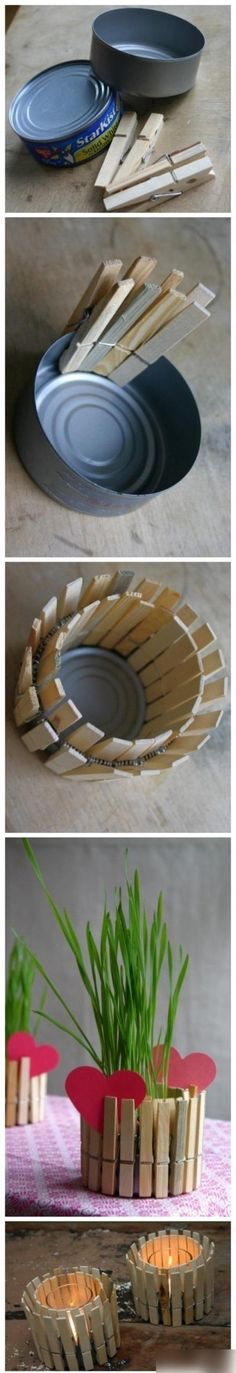Green craft project idea - Repurpose a tuna can and clothes pins to make a flower pot or candle holders. Would be cute to do with a kid to work on fine motor skills. Would be cute for grandparents or as a Mother's Day gift!