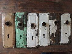 Lot-6-Antique-Vintage-Victorian-Metal-Door-Knob-Back-Plate-Skeleton-Key-Hardware