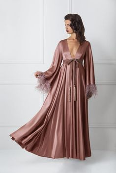 Discover the world of timeless femininity called Amoralle - luxury dresses, loungewear, nightwear, and lingerie for women, including exquisite accessories and glamorous bodysuits Satin Lingerie, Pretty Lingerie, Maxi Gowns, Satin Dresses, Fancy Robes, Satin Dressing Gown, Pijamas Women, Mode Kimono, Luxury Nightwear