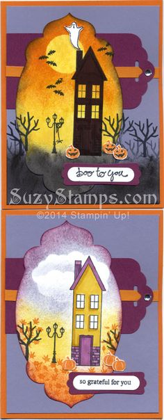Stampin' Up! Cards - 2014-10 Class - Holiday Home and Good Greetings stamp sets, Apothecary Accents Framelits, Scalloped Tag Topper Punch, Halloween, Thanksgiving