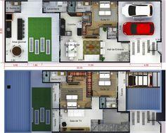 Plano de casa con edícula. Plano para terreno 8x20