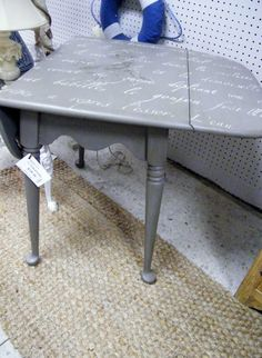 inlaid painted french drop leaf side table $135