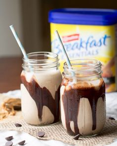 Chocolate Peanut Butter Banana Smoothie: This easy to make, make ahead smoothie is made with frozen bananas, peanut butter, almond milk and Carnation Breakfast Essentials. (healthy smoothie recipes make ahead) Chocolate Smoothie Recipes, Chocolate Peanut Butter Smoothie, Breakfast Smoothie Recipes, Peanut Butter Banana, Tzatziki, Instant Breakfast Recipe, Carnation Breakfast, Make Ahead Smoothies, Raspberry Smoothie