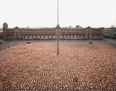 Installation by Spencer Tunick - Mexico City 4 (Zócalo, MUCA/UNAM) 2007  c-print mounted between plexi  h: 71 x w: 89.25 in / h: 180.34 x w: 226.7 cm   Edition of 3