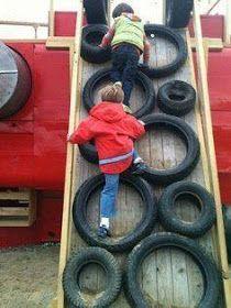 20 creative ways to reuse old tires - Kinder Garten - Awesome Garden Ideas Backyard Playset, Backyard House, Backyard For Kids, Backyard Games, Swing Sets For Kids, Kids Swing, Diy Playground, Diy Climbing Wall, Reuse Old Tires